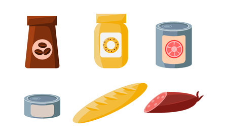 Food icons set, packaging of coffee, biscuits, cans, loaf, sausage vector Illustration isolated on a white background.