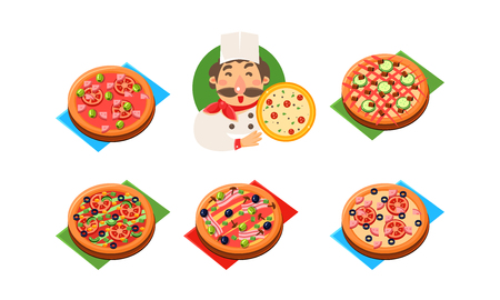Collection of whole pizza with different ingredients, cheerful chef with pizza, pizzeria, restaurant, bakery shop, cafe design template vector Illustration isolated on a white background.