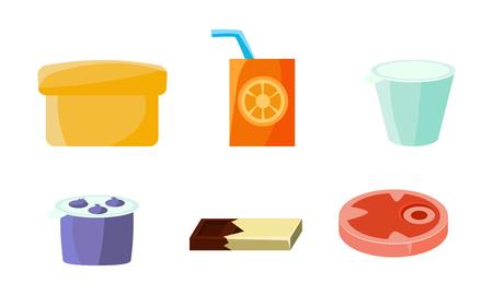 Food icons set, yogurt, orange juice, chocolate bar, plastic container vector Illustration isolated on a white background.