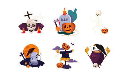 Traditional design elements of Halloween set, scary symbols vector Illustration isolated on a white background.