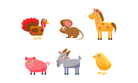 Cute farm animals set, turkey, horse, pig, goat, chicken, mouse vector Illustration isolated on a white background.