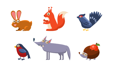Collection of wild forest animals, hare, grouse, wolf, bullfinch, hedgehog vector Illustration isolated on a white background. Иллюстрация