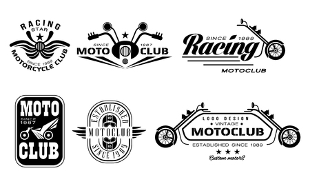 Vector set of vintage motorcycle club. Monochrome emblems with motorbikes, steering bars, helmets and text