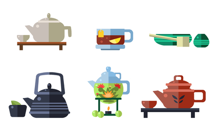Tea ceremony accessories set, cups, teapots, tea party equipment vector Illustration isolated on a white background.