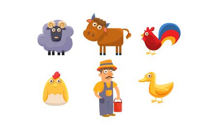 Animaux de ferme mignons et agriculteur mâle, ram, mouton, cheval, coq, poulet, caneton vecteur Illustration isolé sur fond blanc. Vecteurs