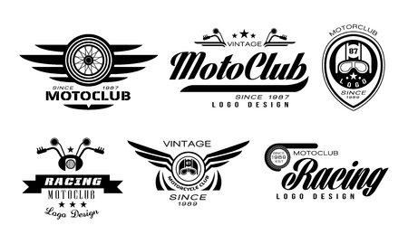 Vector set of original emblems for moto racing club. Vintage with wheels, helmets and motorcycle handlebars