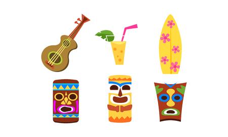 Hawaiian symbols set, summer vacation, summertime, beach holidays vector Illustration isolated on a white background.