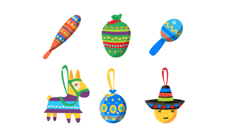 Mexican Cinco De Mayo holiday elements set, Birthday pinata vector Illustration isolated on a white background. Illustration