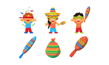 Mexican Cinco De Mayo holiday elements set, children celebrating a traditional Pinata vector Illustration isolated on a white background.