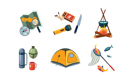 Fishing and camping icons set, map, compass, flashlight, tent, cauldron, box of matches, knife, bottle, box, flask, mug vector Illustration