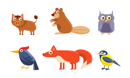 Collection of wild forest animals, boar, beaver, owl, owlet, woodpecker, fox, tit bird vector Illustration