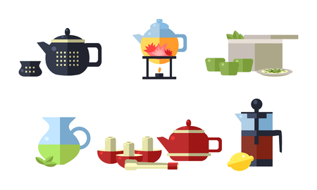 Collection of tea ceremony accessories, cups, teapots, tea party equipment vector Illustration