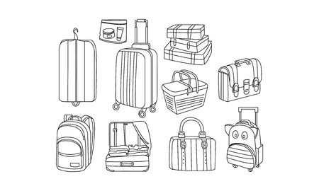 Set of different bags and tourist luggage. Picnic basket, cover for clothes, suitcase, travel backpacks, briefcase. Baggage theme. Hand drawn vector illustrations isolated on white background. Ilustração