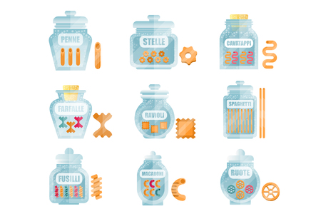 Glass jars filled with dry farfalle pasta set, different types and shapes of italian pasta with names vector Illustrations isolated on a white background.