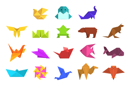 Animals origami set, geometric paper animals and birds vector Illustrations