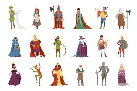 Middeleeuwse mensen tekens instellen, Europese middeleeuwen historische periode elementen vectorillustraties op een witte achtergrond Vector Illustratie