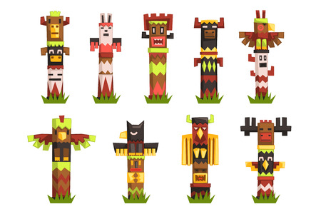 Traditional religious Totem Poles set, native culture tribal symbol, carved idol masks vector Illustrations isolated on a white background