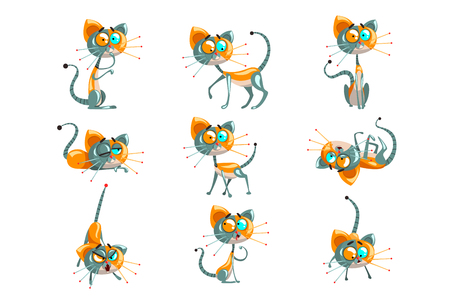 Cute robotic cat set, funny robot animal in different actions vector Illustrations on a white background Illustration