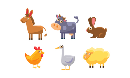 Cute farm animals set, donkey, cow, chicken, rabbit, goose, sheep vector Illustration isolated on a white background. 矢量图像