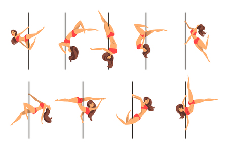Young pole dance women set, beautiful pole dancers showing some tricks vector Illustrations on a white background