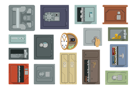 Different types of safes set, property security concept vector Illustrations isolated on a white background.