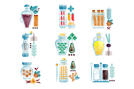 Herbs and spices jars set, different culinary condiments vector Illustrations isolated on a white background.
