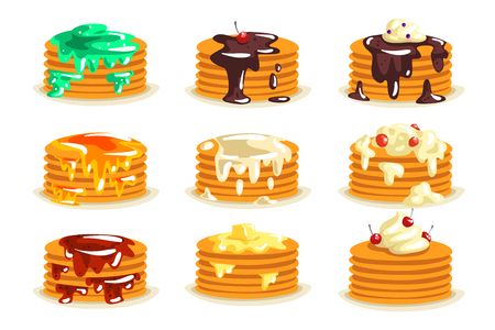 Various kinds of pancakes with different ingredients, traditional breakfast food with berries, syrup, butter, honey set of vector illustrations.