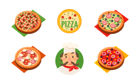Collection of whole pizza with different ingredients, cheerful chef, pizzeria, restaurant,  bakery shop, cafe design template vector Illustration