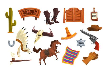 Wild west elements set, cowboys accessories and symbols vector Illustrations Illustration