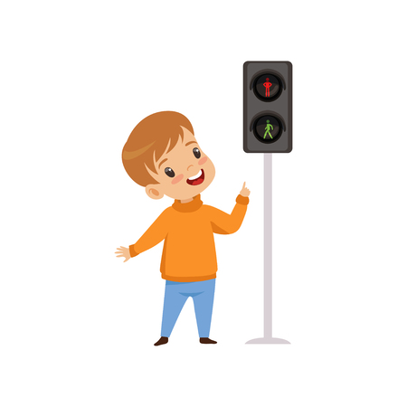 Boy Pointing Finger at Pedestrian Traffic Light, Traffic Education, Rules, Safety of Kids in Traffic Vector Illustration on White Background.