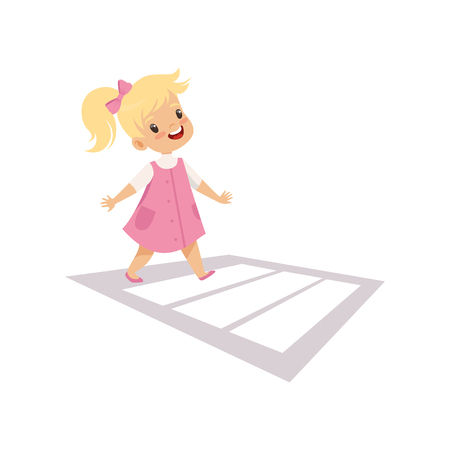 Cute Girl Using Cross Walk to Cross Street, Traffic Education, Rules, Safety of Kids in Traffic Vector Illustration on White Background.