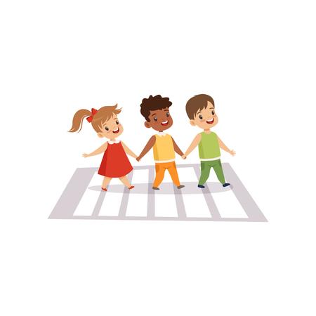 Children Using Cross Walk to Cross Street, Traffic Education, Rules, Safety of Kids in Traffic Vector Illustration on White Background. Ilustracja