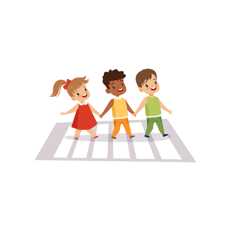 Children Using Cross Walk to Cross Street, Traffic Education, Rules, Safety of Kids in Traffic Vector Illustration on White Background. Illustration
