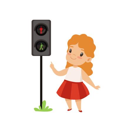 Lovely Girl Pointing Finger at Pedestrian Traffic Light, Traffic Education, Rules, Safety of Kids in Traffic Vector Illustration on White Background.