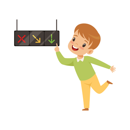 Boy Pointing Finger at Traffic Light, Education, Rules, Safety of Kids in Traffic Vector Illustration on White Background.