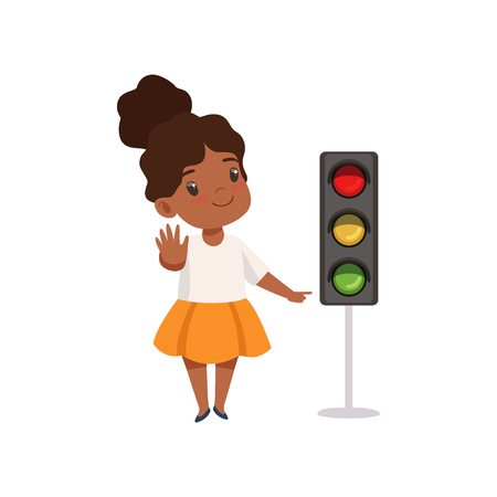 African American Girl Showing Stop Gesture and Pointing Finger at Traffic Light, Traffic Education, Rules, Safety of Kids in Traffic Vector Illustration Illustration