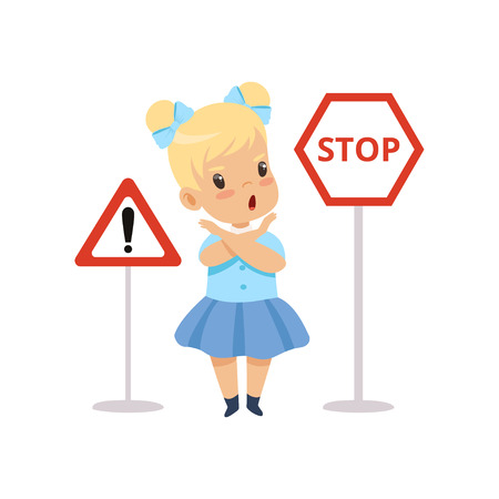 Cute Girl and Warning Road Signs, Traffic Education, Rules, Safety of Kids in Traffic Vector Illustration