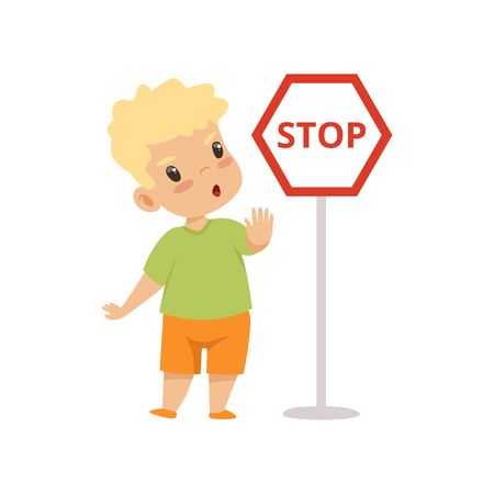 Cute Boy Showing Stop Gesture While Standing Next Warning Road Sign, Traffic Education, Rules, Safety of Kids in Traffic Vector Illustration on White Background.