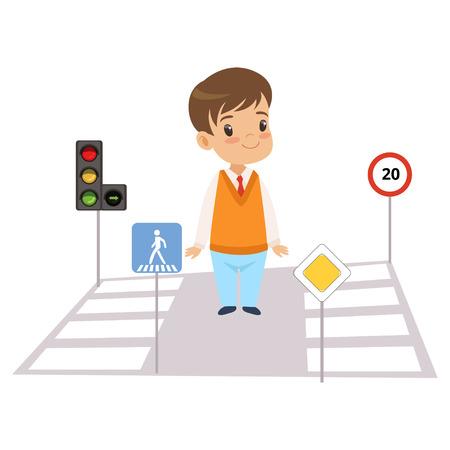 Ragazzo carino e segnaletica stradale, bambino che impara le regole della strada, sicurezza dei bambini nel traffico Vector Illustration