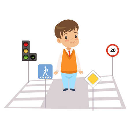 Cute Boy and Road Signs, Child Learning Rules of Road, Safety of Kids in Traffic Vector Illustration