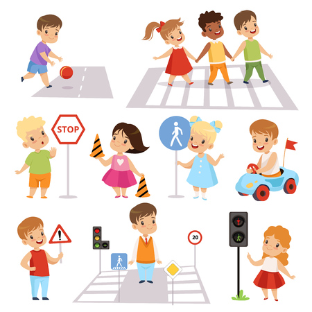 Cute Smiling Boys and Girls Crossing Streets and Learning Road Signs set, Traffic Education, Rules, Safety of Kids in Traffic Vector Illustration on White Background.
