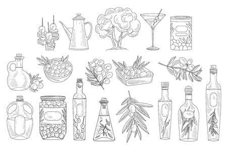 Set of monochrome olives, branches, various oil bottles and bowls. Natural product. Sketch style icons. Design elements for decoration. Hand drawn vector illustration isolated on white background.