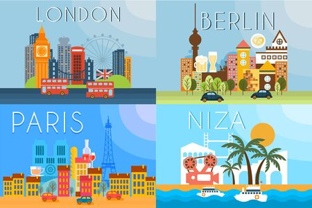 Travel landmarks, city architecture vector illustration in flat style