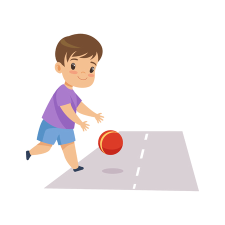 Little Boy Playing Ball on Road, Kid in Dangerous Situation Vector Illustration on White Background. Иллюстрация