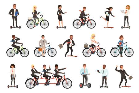 Ensemble de vecteurs plats d'employés de bureau sur différents véhicules vélo, hoverboard électrique, planche à roulettes. Hommes d'affaires. Hommes et femmes en tenue décontractée