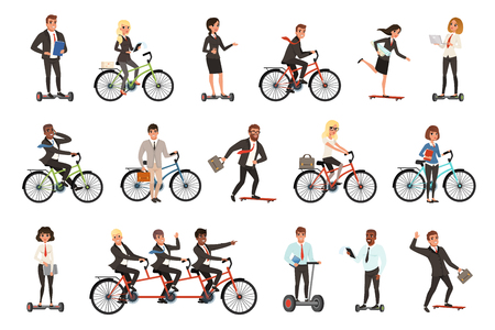 Flat vector set of office workers on different vehicles bicycle, electric hoverboard, skateboard. Business people. Men and women in casual clothes
