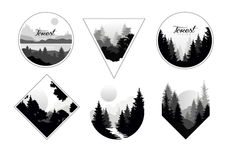 Set of monochrome landscapes in geometric shapes circle, triangle, rhombus. Natural sceneries with wild pine forests. Flat vector for company or camping Illustration