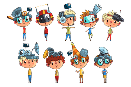 Cute scientist children working on physics science experiment set, funny boy in fantastic headdress with antennas vector Illustrations on a white background