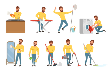 Bearded man with different household chores. Cleaning floor with mop and vacuum cleaner, washing dishes, ironing clothes. Happy house husband. Flat vector set