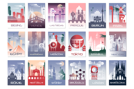 City cards set, landscape template of flyer, poster, book cover, banner, Berlin, Paris, Tokyo, Istanbul, Brussels New York London Barcelona vector illustrations web design 免版税图像 - 125592993